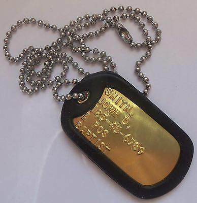 Real Single Brass Embossed Military Dog Tag Dogtag Made Just For U