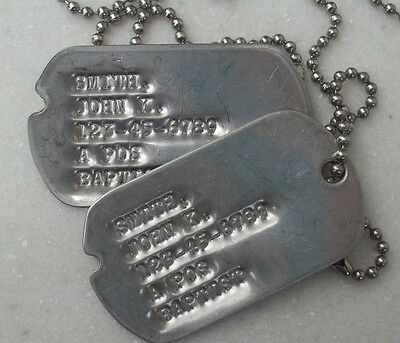 Real Standard Notched Military Issue GI Dog Tags Dogtags Made Just For U