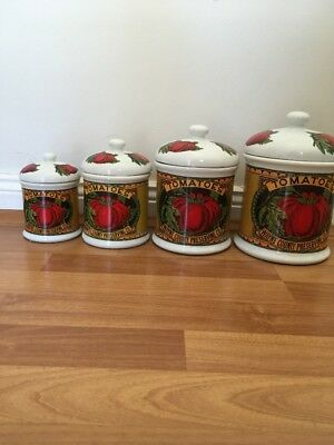 Vintage Retro Set Of Canisters Fine China Made In Korea