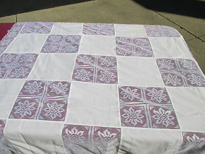 """Christmas Tablecloth Lace Patchwork White Vtg Poinsettia Holiday 49"""" x 50"""""""