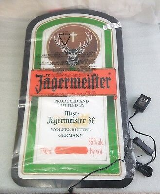 Jagermeister Wall Mountable Neon Bar Sign, Light Up Bottle Label Flat Screen NEW