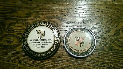 Antique Maryland Casualty Co Paperweight & Mirror Set