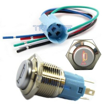 16mm Socket Plug +Horn Button Metal Switch Red LED Icon Momentary Pushbutton 12V