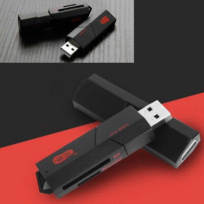 UK USB 3.0 High Speed 2 in 1 Memory Card Reader Flash Adapter Micro SD SDXC TF