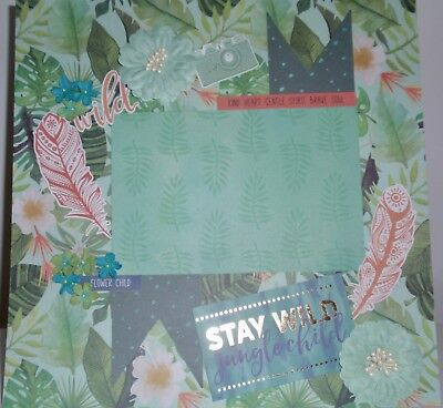 Handmade Scrapbook page - Stay Wild Jungle Child