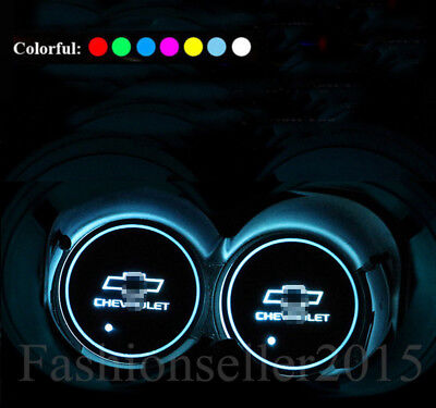Colorful LED Car Cup Holder Pad Mat for Chevrolet Auto Interior Atmosphere Light