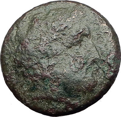 350-100BC Authentic ANCIENT Original Greek City Coin APOLLO and HORSE i63646