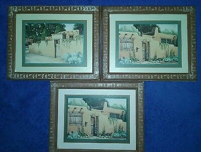 Homco Set of 3 Framed Pictures Western Aztec