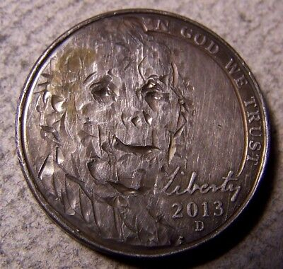 "Classy Hand Carved Original Hobo Nickel, Coin Art, ""...SCARY HALLOWEEN Face.. """