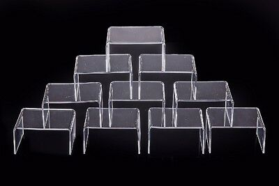 Small Acrylic Jewelry Display Clear Showcase Risers Stage Storage Figure 10 pcs
