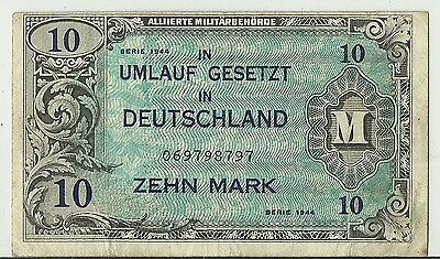 1944 Zehn Mark 10 Marks Allied Military Currency Banknote - Pick# 194B
