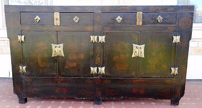 c.1900s Antique Genuine Oriental Substantial Hand Painted Black Laquer Sideboard