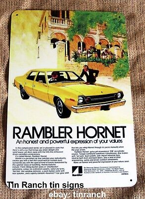 RAMBLER HORNET 1972 TIN SIGN new VINTAGE car ADVERTISING metal art print classic