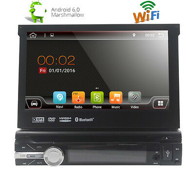 """7"""" Android 6.0 Single 1 Din GPS Flip Car DVD Radio Player Touch Screen USB DAB+"""