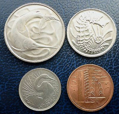 Singapore - lot of four coins - 20, 10, 5 & 1 cents - 1981 & 1982