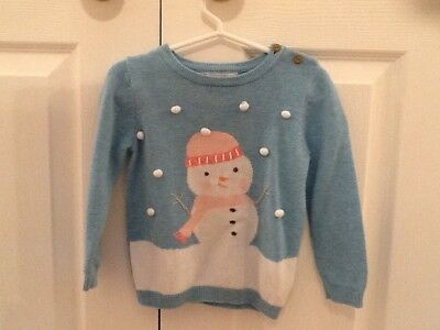 John Lewis Snowman Knitting Pattern : Baby Girls Christmas Jumper 12-18 Months VGC Clothes P&P Next Day   ?3.50...