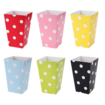 12pcs Folding Popcorn Boxes Wedding Birthday Party Movie Favor Paper Candy Bag