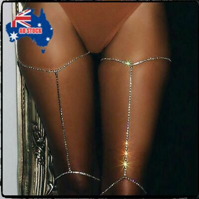 1PC Shiny Body Bikini Beach Harness Jewelry Crystal Rhinestone Leg Thigh Chain S