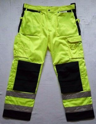 UCI Vizwell Fluorescent Yellow Combat Cargo Work Trousers Size L Reflective