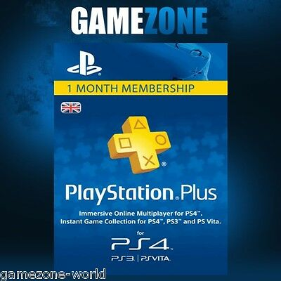 Playstation Plus 30 Days UK Card - PSN PS Store 1 Month Code - SONY 30 Days Key