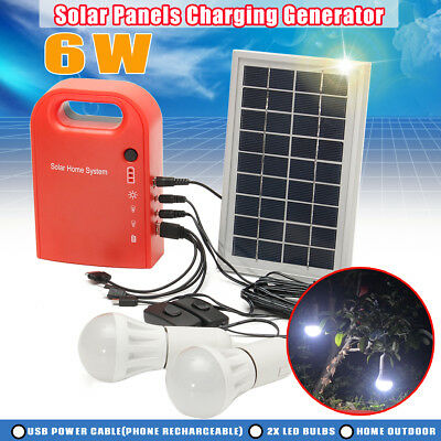 Portable DC Solar Lighting Panels Charging Generator Power 2Ah/12V LED Bulbs