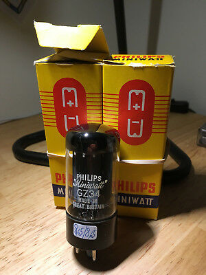 Philips Miniwatt GZ34 matched pait. Made in Great Britain