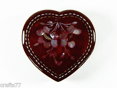 Heart Shape Purple Red Trinket Jewelry Box Case,Hand-Inlaid Conch Shell Flower
