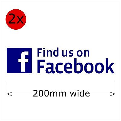 Find Us On Facebook Stickers, 200 mm wide