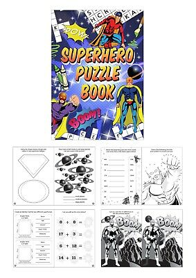 Super Hero Boys Mini Colouring Activity Books A6 Party Bag Fillers 1 - 12