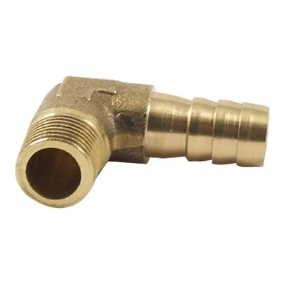 """8mm Hose x 3/8"""" Male Thread 90 Degree Brass Elbow Barb Coupler Connector SS"""