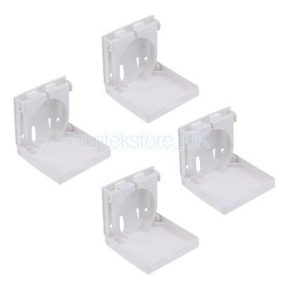 4 Pack Folding White Nylon Drink Can Cup Holders - Boat/Marine/Caravan/Car