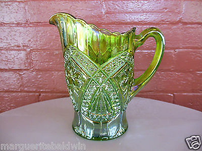 Tiara Indiana Glass Green Carnival Eclipse Flower Medallion 48 ounce Pitcher