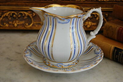 Superb Early Kpm Blue And Gold Rococo Style Footed Creamer With Under Plate