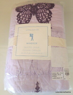 """Pottery Barn Kids Windsor Butterfly Quilted Sham 26"""" x 26"""" European Pillow Cover"""