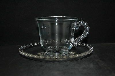 Imperial Glass Candlewick Clear Footed Cup & Saucer