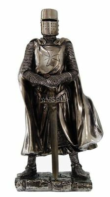 Crusader Knight Guard Swordsman Templar Figurine Statue Silverlike Suit of Armor