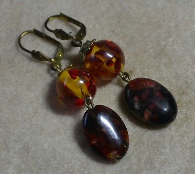 Vintage Italian genuine Baltic Amber & Agate 14ct Gold Filled Earrings