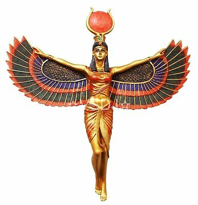 Statue Egypt God Isis Open Wings Ancient Egyptian Wall Plaque Statue Figurine