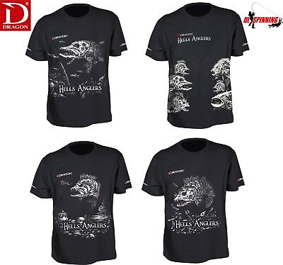 New Dragon T-Shirt Hells Anglers All Sizes Pike Perch Zander Mix Lure Fishing