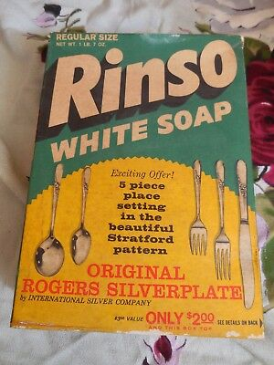 Vintage 1950 - 1960's RINSO WHITE SOAP BOX - Unopened w/original contents