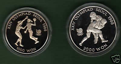 Korea   1988  Olympic  Coin  Proof Wrestler & Handball