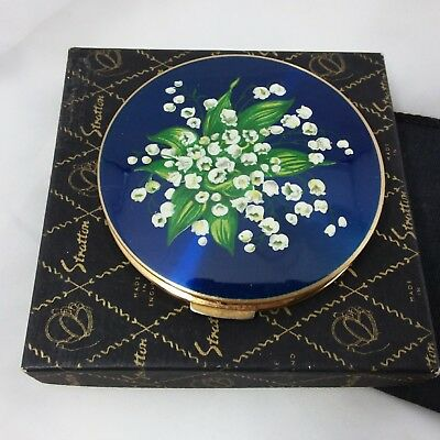 Vintage 1960s Stratton rondette loose powder compact box pouch sifter puff lily
