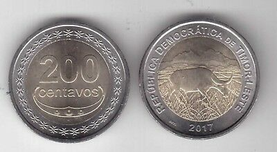 East Timor - New Issue Bimetal Unc Coin 200 Centavos 2017 Year Animal Buffalo