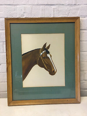 Vintage Oil Painting on Satin of Race Horse w/ White & Blue Band