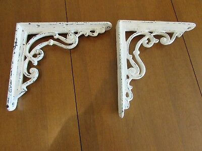 Lot Of 2 Vintage HEAVY Matching Ornate Cast Iron Shelf Brackets Shabby White