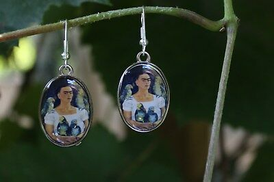Fun Two sided Earrings Frida Kahlo with her Parrots Mexican Folk Art Hippie Boho