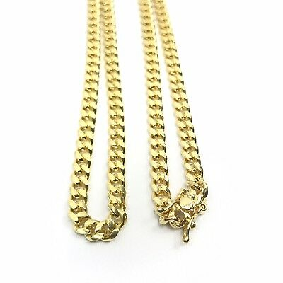 """28/""""925 STERLING SILVER GOLD MIAMI CUBAN LINK CHAIN NECKLACE 4mm 30g Q"""