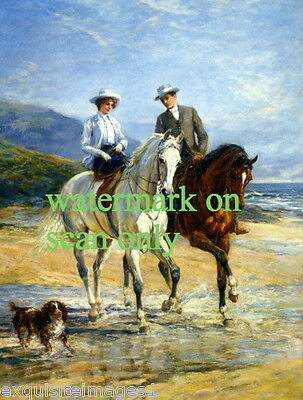 1906 Couple on Horses~Beach~Sidesaddle~Collie or Spaniel Dog~NEW Lge Note Cards