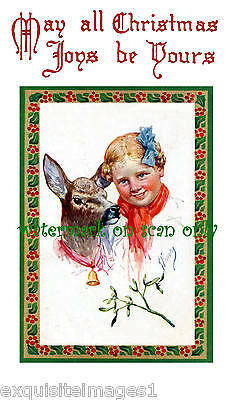 K. Feiertag~Christmas Deer w Red Bow & Bell w Girl~Child~Nouveau~NEW Note Cards