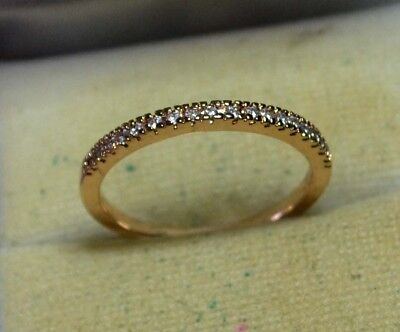 Vintage genuine White Sapphires 14ct rose Gold eternity ring size 8 1/2, Q 1/2